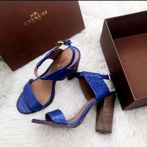 Coach Lexey blue snakeskin heels 6.5